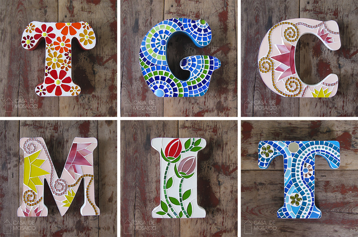 Letras de mosaico para decoração - Casa de Mosaico