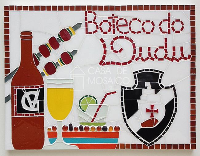 Quadro de mosaico para churrasco com brasão do Vasco da Gama