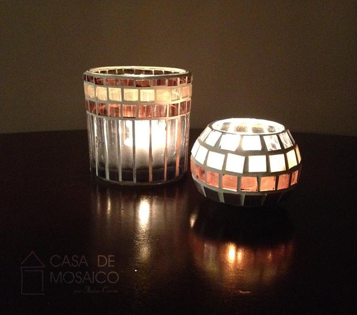 Porta-velas de mosaico