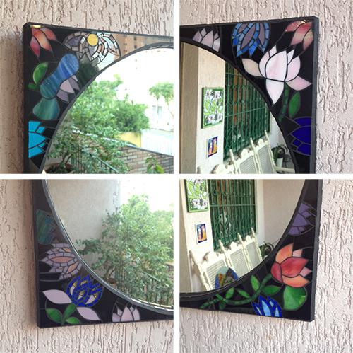 Detalhes do Espelho de mosaico inspirado em Gustav Klimt
