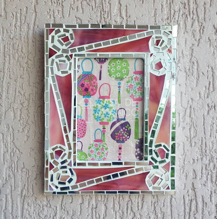Porta-retrato rosa de mosaico