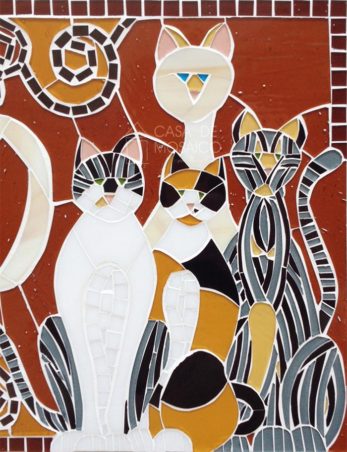 Detalhe dos gatos em mosaico