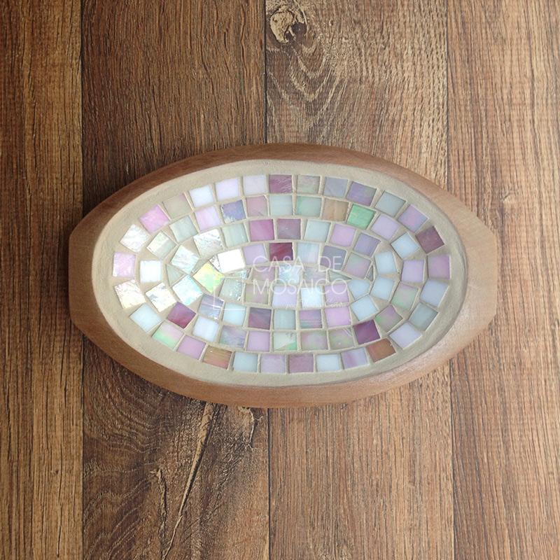 Gamela pequena com mosaico de vidro rosa