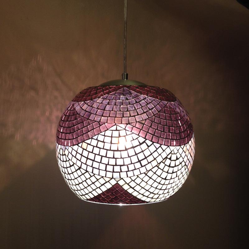 Luminária Renda – pendente redondo em mosaico de vidro